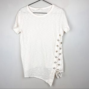 Lovestitch Lace Up Asymmetrical T-Shirt Cream S
